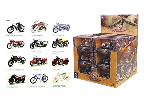 Scale Single Car Display Case (NEW 1:32 NEW RAY MOTORCYCLES COLLECTION - INDIAN MOTORCYCLE ASSORTMENT 24 Pieces w/ Display Box Model Car By NEW RAY TOYS Set of 24 Motocycles)
