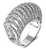Gnzoe Jewelry, Silver Plated Womens Wedding Ring White Hollow Bar CZ Promise Band