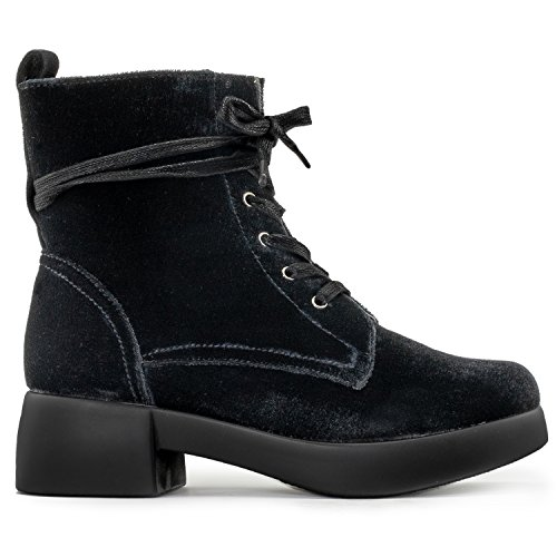 RF ROOM OF FASHION Women's Light Weight Velvet Lace up Stacked Platform Heel Combat Ankle Boots