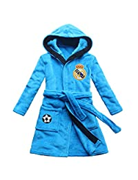 [FEETOO] Real Madrid Soccer Team Embroidered Boy Bathrobe Children's Nightgown