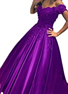 BessDress Lace Short Sleeves Prom Dresses 2018 Satin Ball Gown BD448