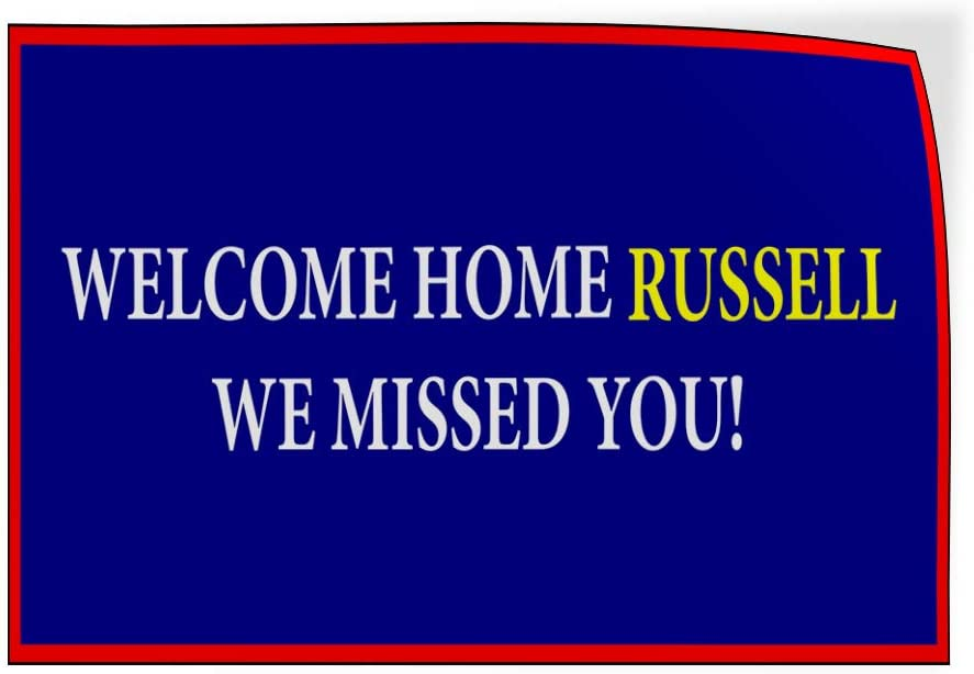 Custom Door Decals Vinyl Stickers Multiple Sizes Welcome Home Name We Miss You Lifestyle Welcome Home Outdoor Luggage /& Bumper Stickers for Cars Blue 30X20Inches Set of 5