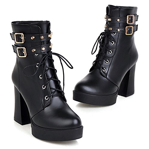 LongFengMa Women's Square Heel Lace Up Pointed Toe Ankel Boots Black fVfBpAayBU
