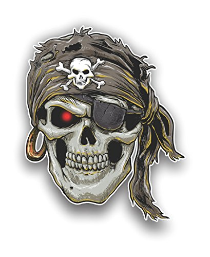 - Vinyl Junkie Graphics Pirate Skull with Skull and Crossbones Sticker Car Truck Laptop Toolbox Decal