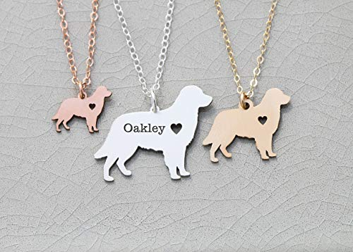 - Golden Retriever Dog Necklace - IBD - Personalize with Name or Date - Choose Chain Length - Pendant Size Options - 935 Sterling Silver 14K Rose Gold Filled Charm - Ships in 1 Business Day