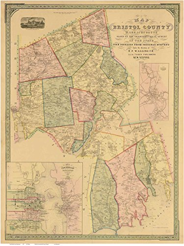 Bristol County Massachusetts 1852 - Wall Map with Homeowner Names - Old Map - Fair County North Map