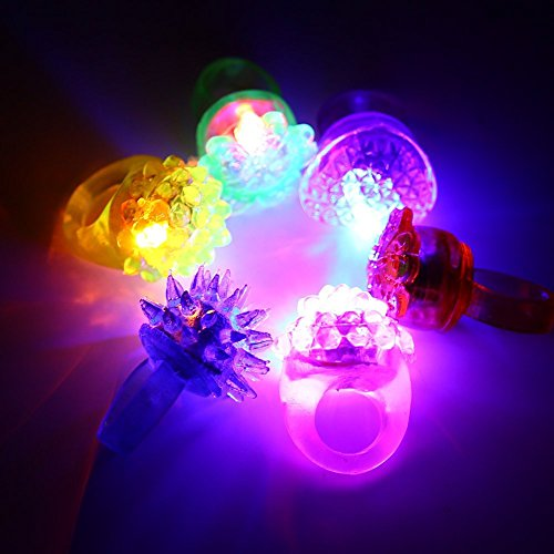 Acekid 24 ct LED Flashing Bumpy Jelly Rings , Light Up Toy, Colors Light Up with Assorted Styles