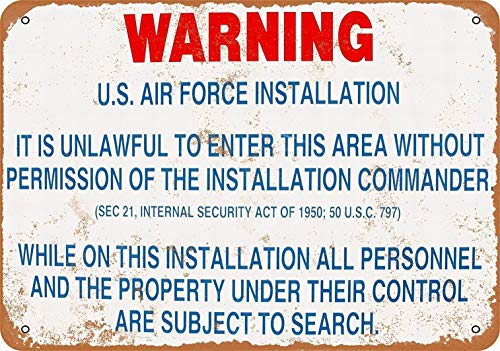 LoMall 12 x 16 Metal Sign - Warning US Air Force Installation - Vintage Wall Decor - Sign Force Air