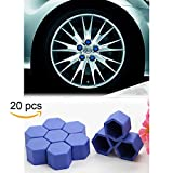 Tool Gadget 20-pcs Car Wheel 19mm Hub Lugs Nuts Bolts Silicone Cover - Super Sleek Cute Protective Cap Dust Protective Tyre Valve Screw Cap Cover -Blue