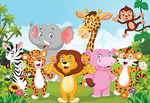 PRINTELLIGENT Jungle Cartoon Animals Wall Sticker PVC Vinyl