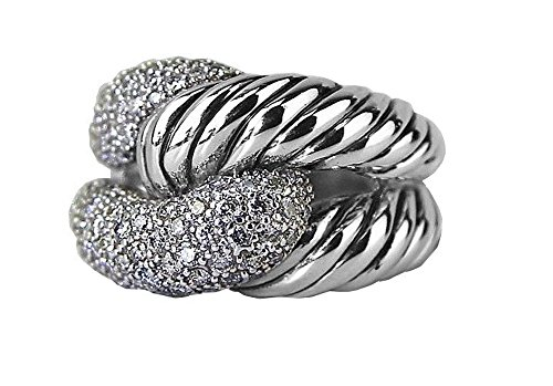 David Yurman Diamond Ring - David Yurman STERLING SILVER PAVE RIO KNOT DIAMOND 0.851 RING SIZE 7 NEW BOX 5R