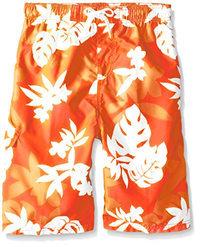 Kanu Surf Big Boys' Optic Quick Dry Beach Swim Trunk, Voyage Orange, Small (8)