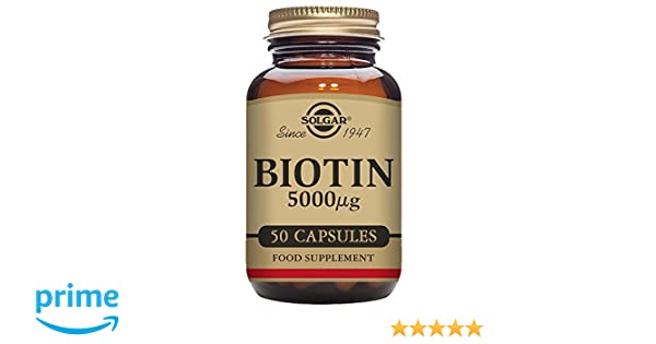 Solgar Biotin Vegetable Capsules, 5000 mcg, 50 Count: Amazon.es: Salud y cuidado personal