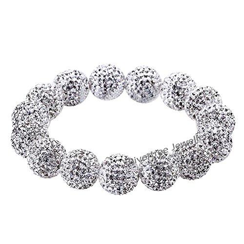 Hign End Designer Swarovski Crystal Beads Disco Ball Shamballa Bracelet For Women - Elastic 18cm - Silver White Swarovski Crystal Disco Ball Bead