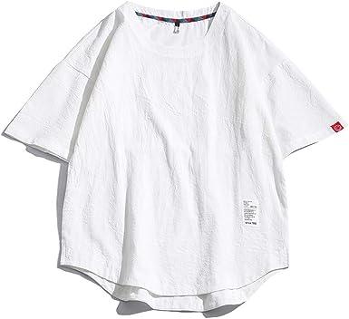 DOGZI Camisetas para Hombre - Algodón y Lino Casual Japonesa Color sólido Verano Manga Corta Camisetas Cuello Redondo Talla Grande Tops Tees M~5XL: Amazon.es: Ropa y accesorios