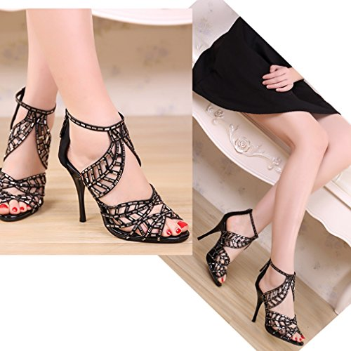 240mm Couleur High Lady Taille Sandals 5 Mariage Height 8cm US6 Noir de 5 38 Strass Banquet Sexy 8cm Height Leaves UK5 Chaussures Heels de 1qFqwf7
