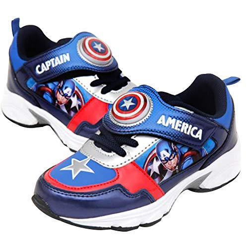 Joah Store Captain America Shield Star Light Up Sneakers for Boys Navy Blue Shoes (Toddler/Little Kid) (11 M US Little Kid, Captain-America-B) -