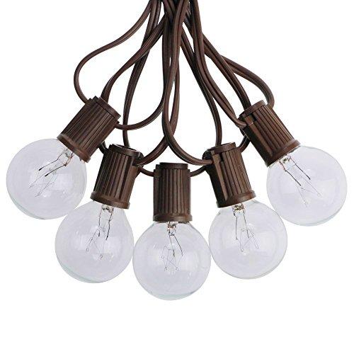tring Lights with 50 Clear Globe G40 Bulbs,UL Certified for Patio Porch Backyard Deck Bistro Gazebos Pergolas Balcony Wedding Gathering Parties Markets Decor, Brown Wire ()