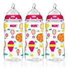 NUK Trendline Baby Talk 3 Pack Bottles Girls Color Silicone