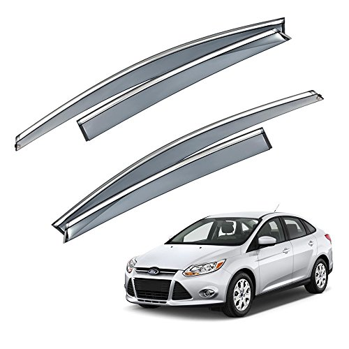 VXMOTOR for 2012-2016 Ford Focus MKIII 4/5DR Wagon - Chrome Trim Smoke Tinted Window Visor Rain Guard Deflector Injection Molding Polycarbonate - PC Material (FOC12)