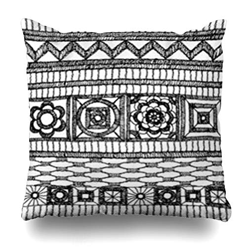 DaniulloRU Throw Pillow Covers Floral Knitted Lace Pattern Crochet Macrame Fringe Border Woven Shell in Boho Chevron Flower Brocade Home Decor Sofa Cushion Cases Square Size 16 x 16 Inches -