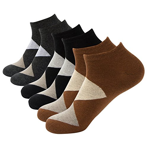 ARTALL New Year Gift 3 Pack Mens Contrast Color Low Cut Ankle Socks,Brown Diamond,Size 11-13