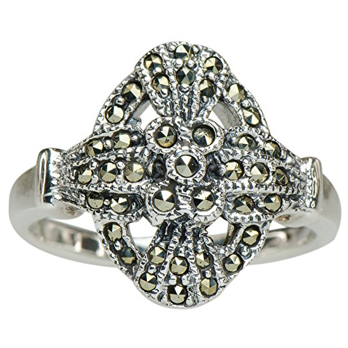 ossed Shield Ring 925 Silver (Cabochon Marcasite Ring)