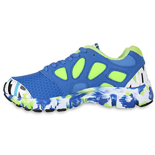 Stiefelparadies Damen Sportschuhe Muster Laufschuhe Neon Sneakers Sneaker Low Schuhe Profilsohle Schnürer Damenschuhe Sport Flandell Blau Neongrün