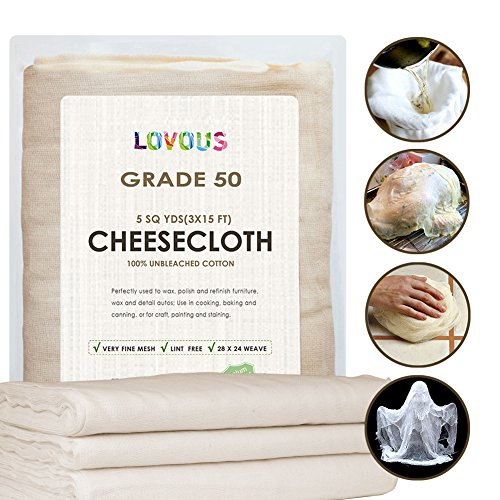 100% Unbleached Cheesecloth Ultra-Fine Grade 50 Butter Muslin Perfect for Cooking, Nut milk Filter, Cheese Making, Broth Strainer, Muslin Bag 5 Sq Yards/45 SQ Feet