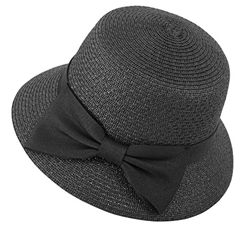 Women's Wide Brim Straw Sun Hat Decorative Bow