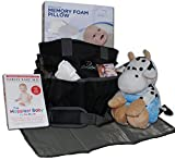 Baby Diaper Bag Gift Basket: New Mom Shower Gifts Set with Travel Changing Pad, Lullabies, Stuffed Animal, Receiving Blanket, Baby Pillow, and Harvey Karp Book - for Newborn Boys