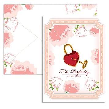 Amazon.com: Signature Line - Lock & Key Valentine Note Cards (1 ...