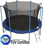 Zupapa 12 Ft TUV Approved Trampoline with Pole and Enclosure Inside Net and Safety Pad and Ladder and Jumping Mat and Rain Cover 72 springs include T-hook