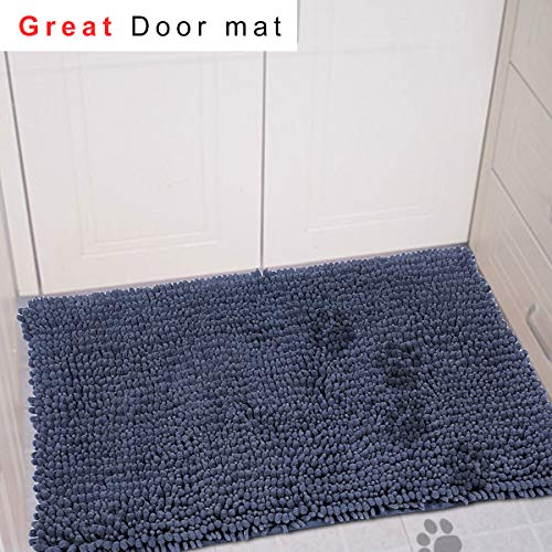 My Pet Territory For Dog And Cat-Ultra Absorbent Microfiber Chenille Dog Mat, Durable, Quick Drying, Washable, Prevent Mud Dirt, Clean Pooch Mat, Keep Your House Grey 36 x 26 Inches