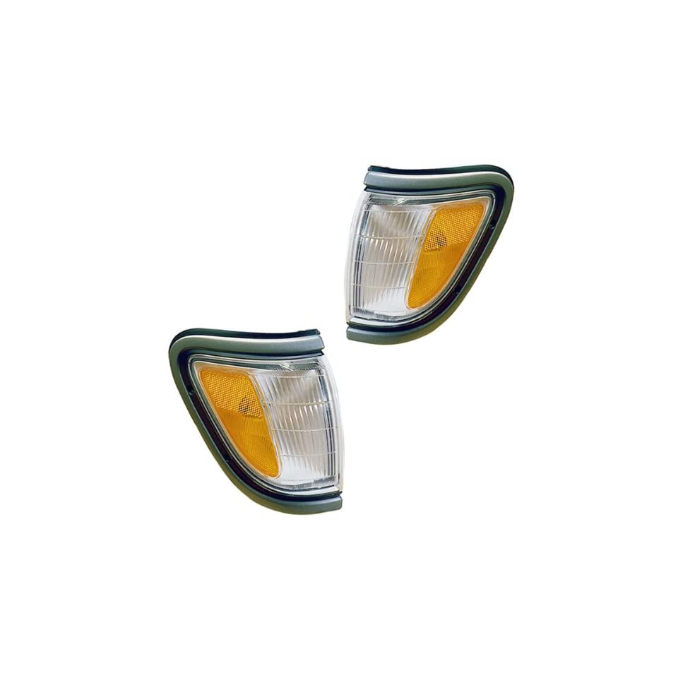 1995 1996 1997 Toyota Tacoma Pickup Truck (4WD 4 Wheel Drive) Corner Park Light Turn Signal Marker Lamp with Black Trim Pair Set Right Passenger AND Left Driver Side (95 96 97)
