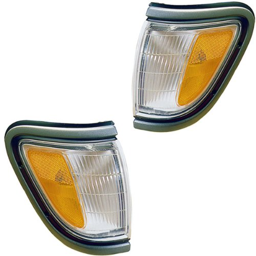 1995-1996-1997 Toyota Tacoma Pickup Truck (4WD 4 Wheel Drive) Corner Park Light Turn Signal Marker Lamp with Black Trim Pair Set Right Passenger AND Left Driver Side (95 96 97)
