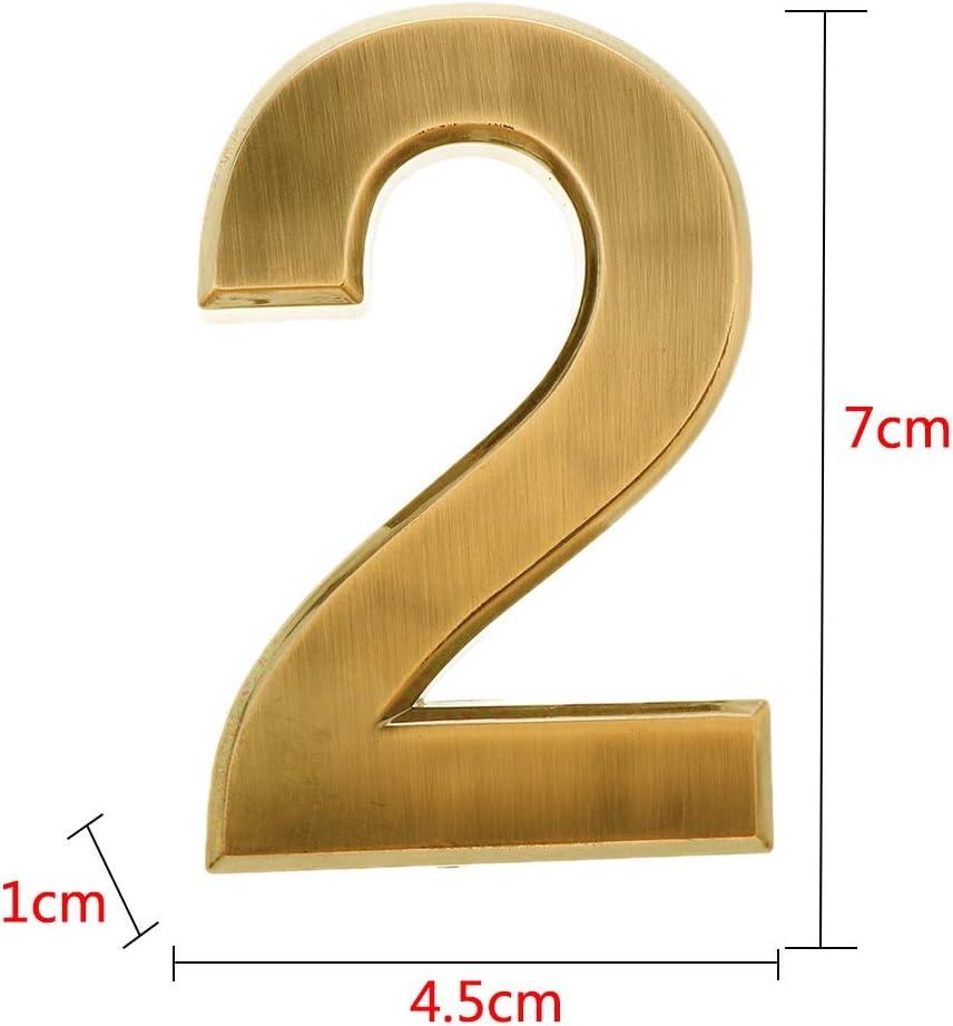 Nummer 0 VANKOA 0-9 Hausnummer Selbstklebend T/ürnummer Zimmernummer Aufkleber Nummer Schild Gold