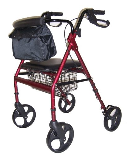 4 Wheel Padded Seat Basket (MedMobile Seat Height Adjustable Aluminum Rollator with 8