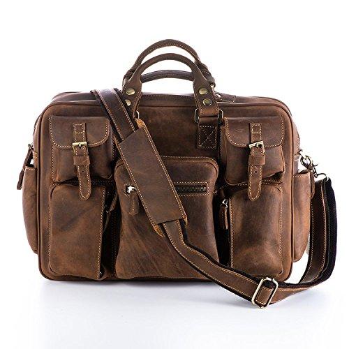 CKL Men's Crazy-Horse Leather Briefcase Luggage Handbag Shoulder Bag, Fit 16.5