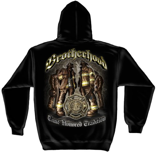 Firefighter Hooded Sweatshirt, 50/50 Cotton Poly Blend Casual Mens Shirts, Show Your Pride with our Time Hono Tradition Brotherhood Firefighter Long Sleeve Sweatshirts for Men or Women - Brotherhood Sleeve Long