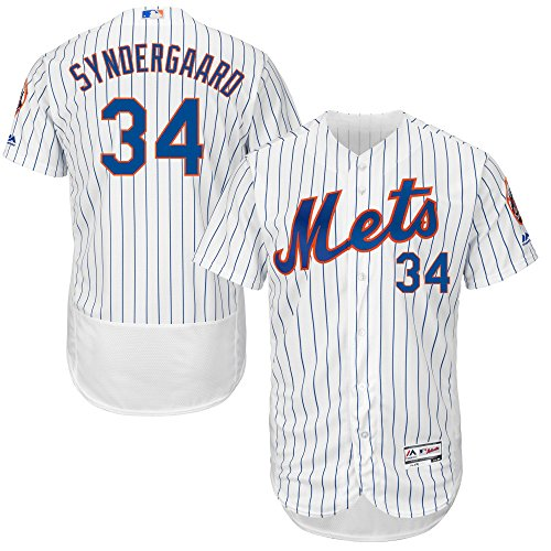 Majestic Athletic Men's New York Mets No.34 Noah Syndergaard Home White Royal Baseball Jersey (Size 52)