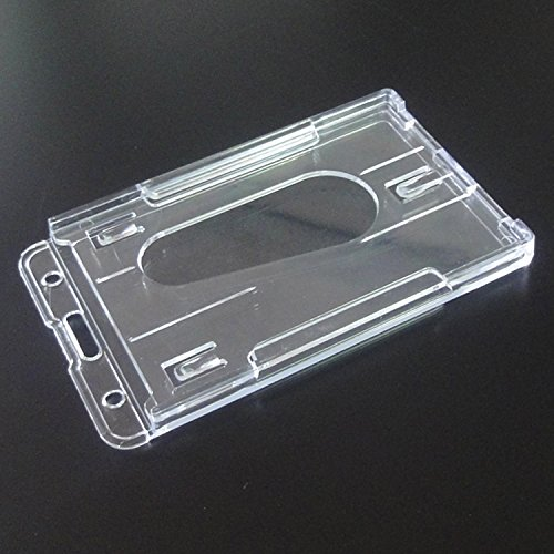 Promotion 3 Pieces 10 x 6cm Clear Vertical Hard Plastic Badge Holder Double Card ID Slot Photo #3
