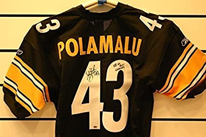 reputable site 6e957 fd61a Troy Polamalu Autographed Pittsburgh Steelers Jersey. at ...