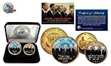 Living Presidents (Obama/Bush/Carter/Clinton) 24KT GOLD JFK 2 COIN SET! W/H CASE!