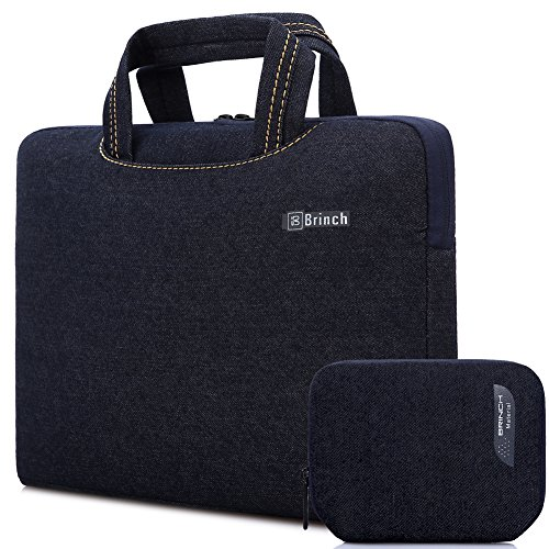 Brinch Fabric Portable Anti-Tear 13 - 13.3 Inch Laptop Sleeve Case for Apple Macbook / Chromebook / Acer / Asus / Dell / Fujitsu / Lenovo / HP / Samsung / Sony / Toshiba with Accessory Bag, Black