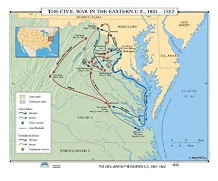 Amazoncom Us History Wall Maps Civil War In Eastern Us - Us-map-before-civil-war