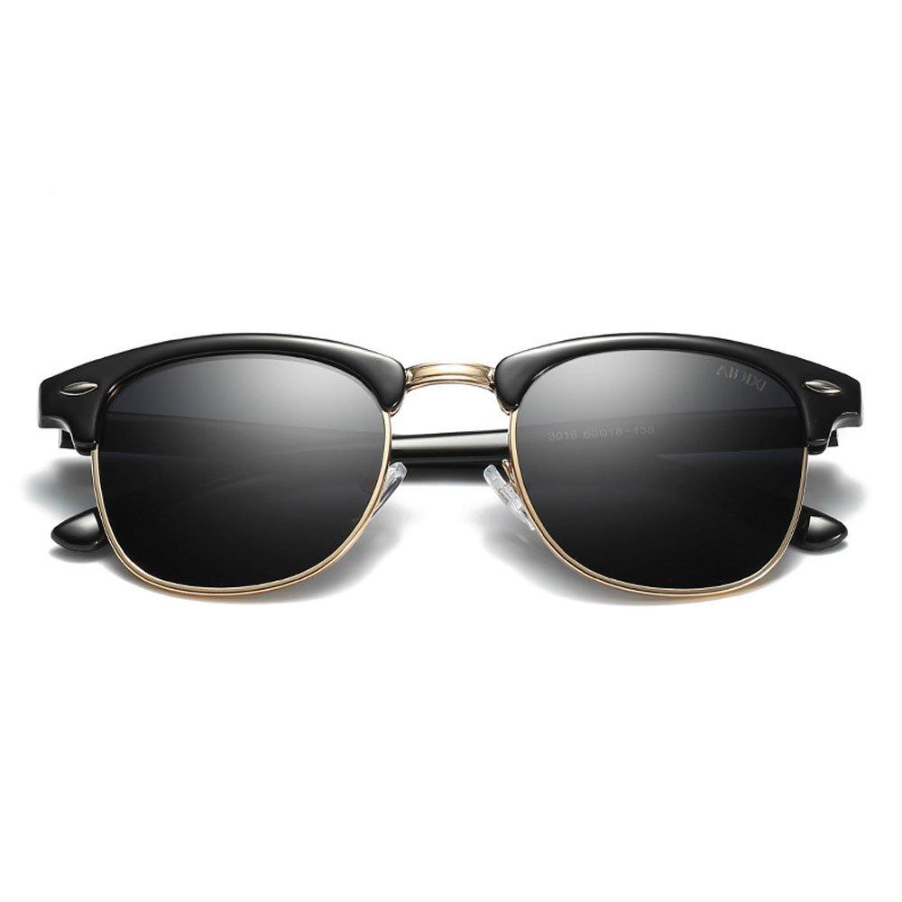 AIDIXI Men women Retro Brand Sun Glasses Classic Half Frame Polarized Semi-Rimless Rimmed Sunglasses (Black-1) by AIDIXI