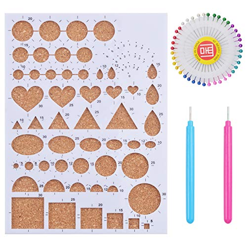 (1 Set of Paper Quilling Template Board Quilling Mould with 2pcs Quilling Slotted Tools and 40pcs Pearl Head Pins for DIY Paper Craft)