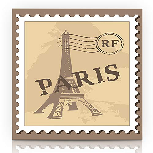 """Ahawoso Canvas Print Wall Art Painting 12""""x16"""" Culture Post Paris Stamp Antique Capital City Correspondence Design Europe Gallery Wrapped Artwork Home Living Room Office"""