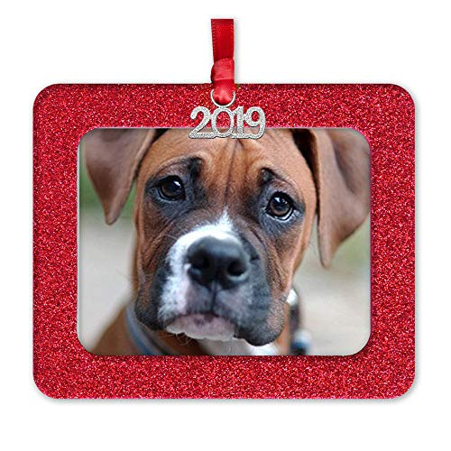 2019 Magnetic Glitter Christmas Photo Frame Ornament with Non Glare Photo Protector, Horizontal - Red (Christmas Of Photo)